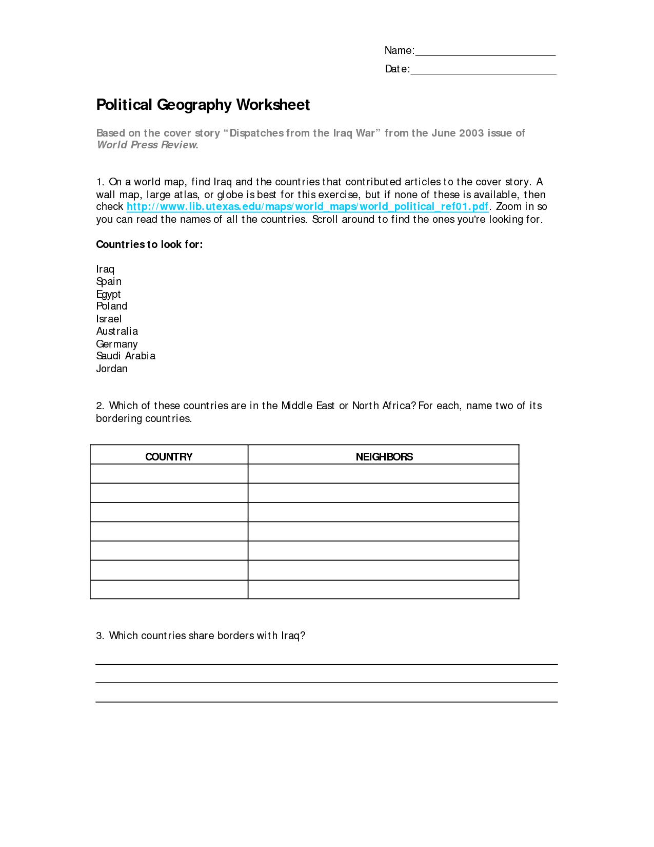 Printable Geography Worksheets