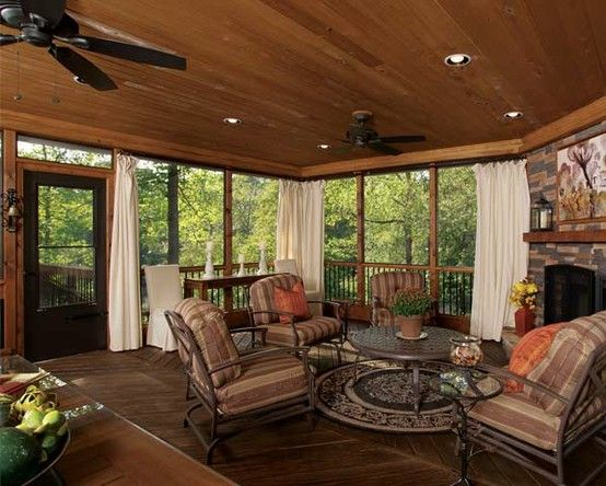 Screened back porch with tongue and groove ceiling for Screened in back porch designs