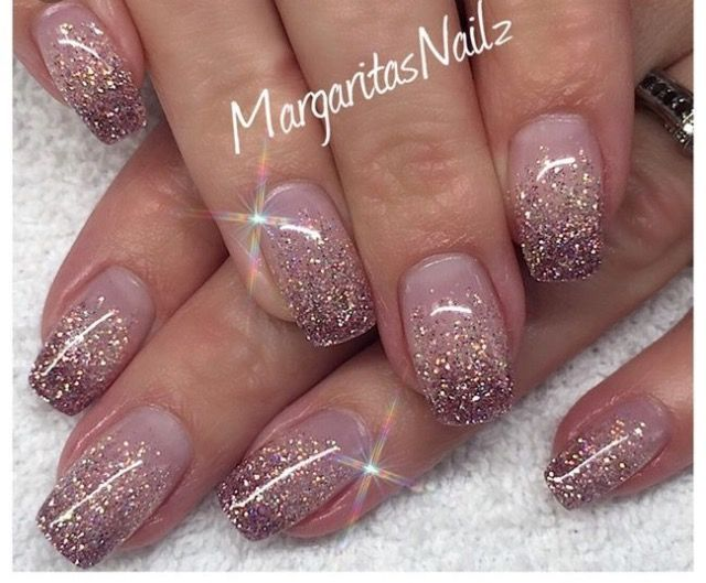 Fall Nail Trend In Ombre Shades Of Beige With Glitter Tips Ombre Nails Glitter Nail Art Ombre Bride Nails