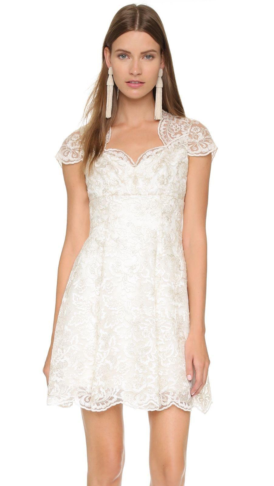 2286ac205 Marchesa Notte White Metallic Lace Cap Sleeve Dress in 2019 | white ...