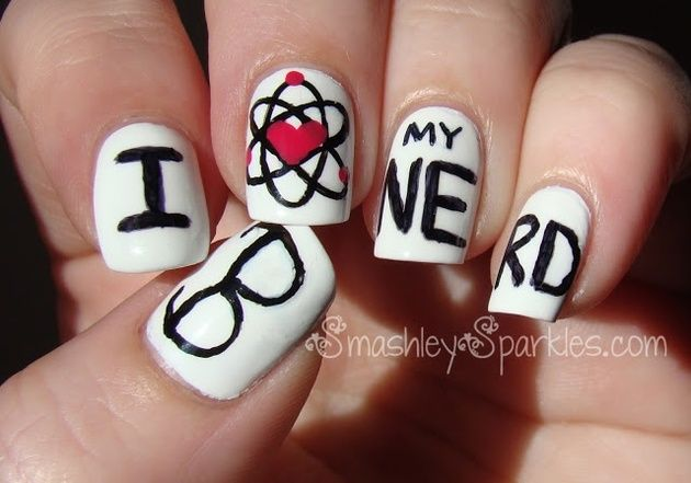 Back to school: I Love My Nerd nail art   Nail Art Ideas and Nail ...
