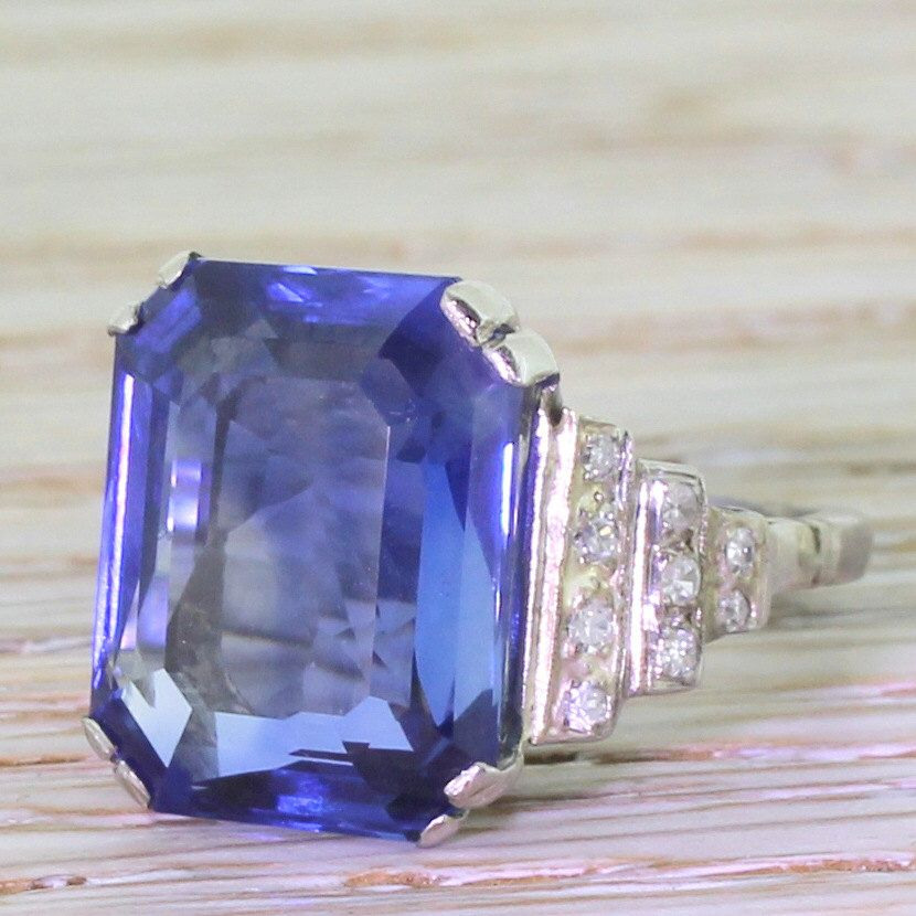Art Deco 10.82 Carat Emerald Cut Natural Sapphire Ring, circa 1935 by GatsbyJewels on Etsy https://www.etsy.com/listing/230951665/art-deco-1082-carat-emerald-cut-natural