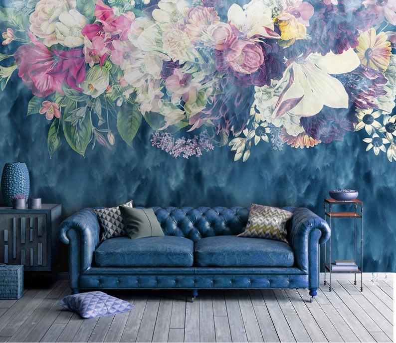 Dark Blue Floral Mural Dreamy Wallpaper Dark Flowers Peony Etsy In 2020 Wallpaper Bedroom Vintage Floral Wallpaper Bedroom Floral Wallpaper