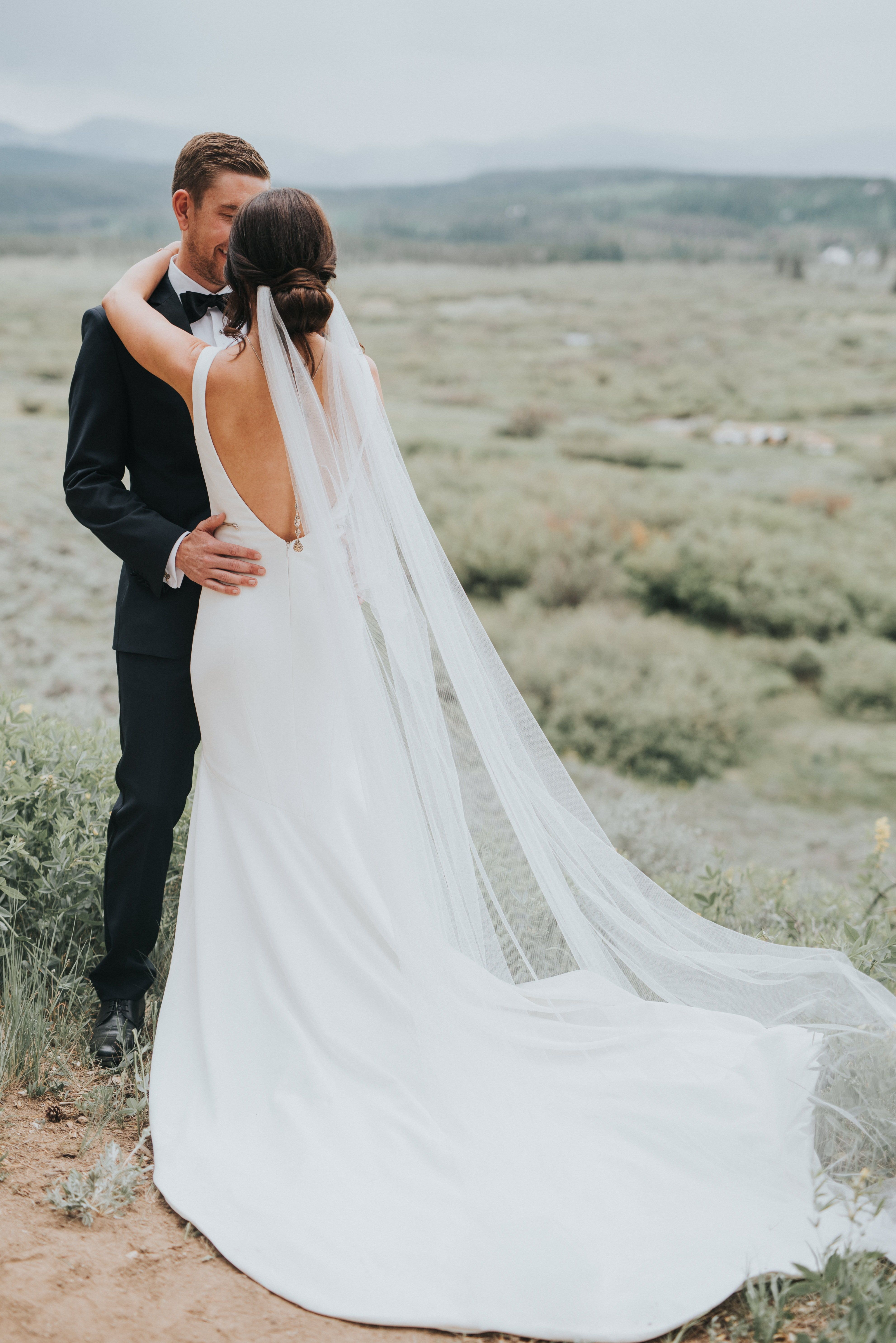 Theia wedding dresses  Real Wedding Kristin  Ryan  Mountain Valley Wedding in Modern