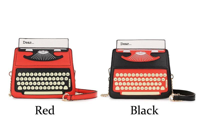 الأسود والأحمر الكرتون آلة كاتبة تصميم بو الجلود المرأة عارضة حقيبة كتف الطوطم Femal Crossbody البسيطة حقيبة ساعي محفظة رفرف في ال Black And Red Red Typewriter