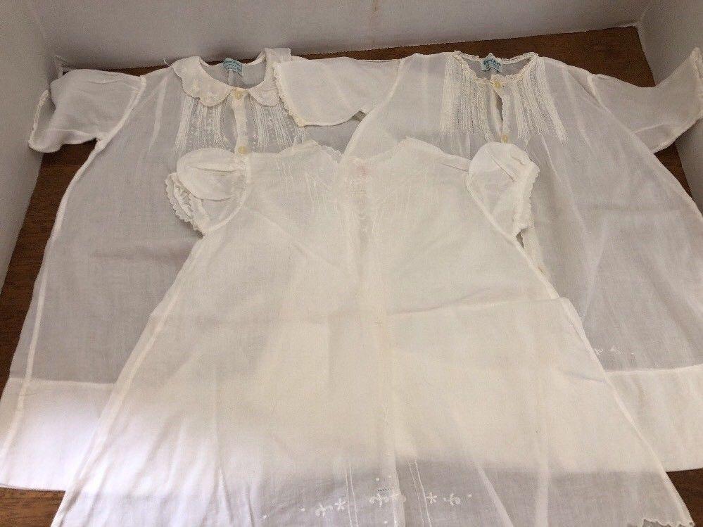 cf8a94a39069 3 Vintage Baby Slip Christening Gown Dress White Handmade Cotton