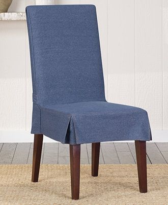 Sure Fit Authentic Denim Short Dining Chair Cover  Slipcovers New Grey Dining Room Chair Covers Decorating Design