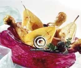 Pilons de poulet aux poires caramélisées