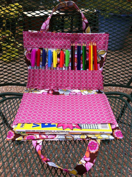 Crayon and coloring book tote