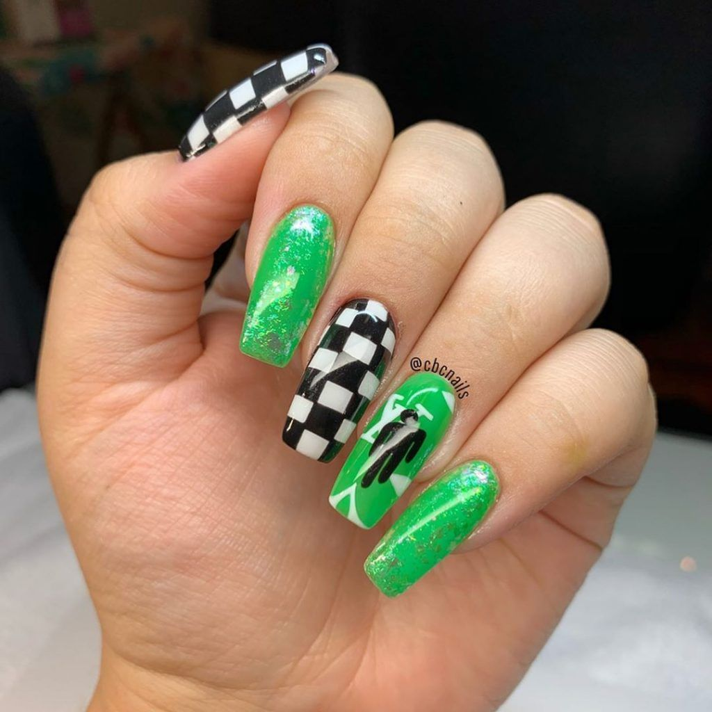 Billie Eilish In 2020 Billie Eilish Cute Acrylic Nails Summer Acrylic Nails