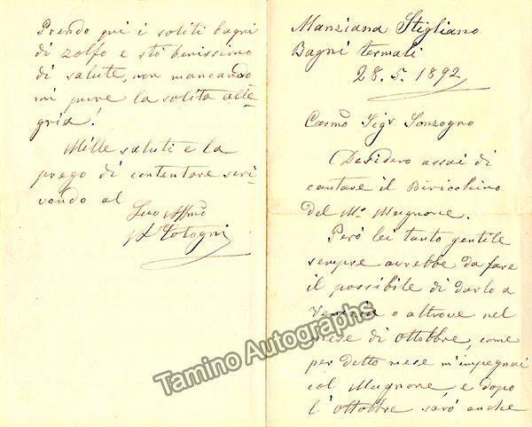 Cotoni, Antonio - Autograph Letter Signed 1892