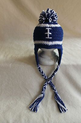 99eb127cb70 Handmade Crochet INDIANAPOLIS COLTS FOOTBALL HAT  YOU CHOOSE SIZE ...