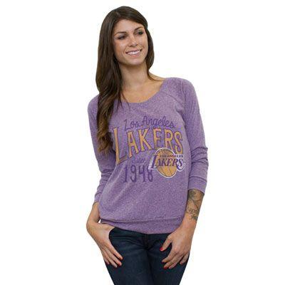 Los Angeles Lakers NBA Long Sleeve Off Shoulder Womens T-Shirt ... 4bbbc4efc