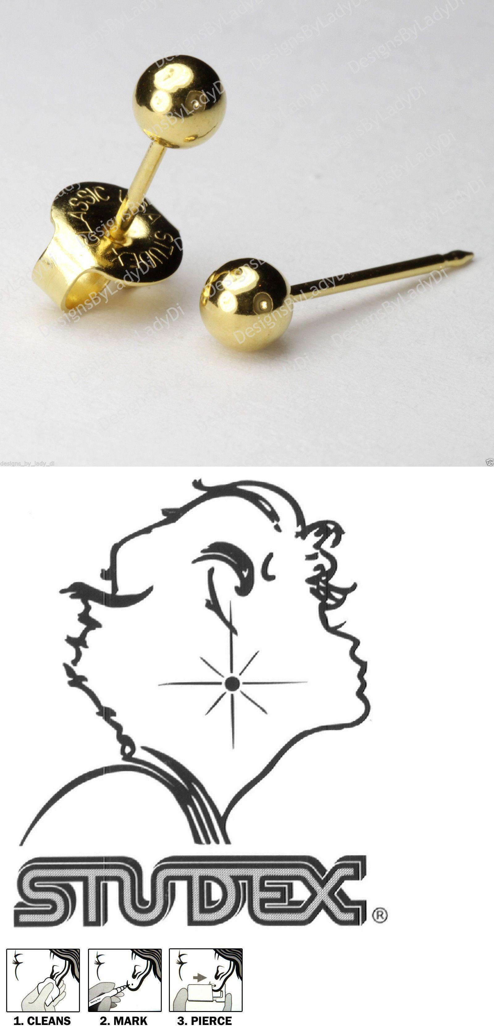 Nose piercing gun kit  LONG POST kt Gold mm Round Ball Studs Ear Piercing Earrings