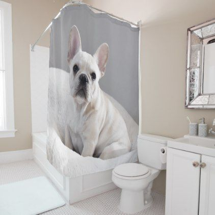 Cream Frenchie Shower Curtain Zazzle Com French Bulldog