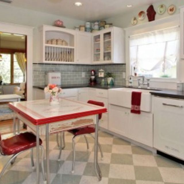 Modern Retro Kitchen. Black Countertops?