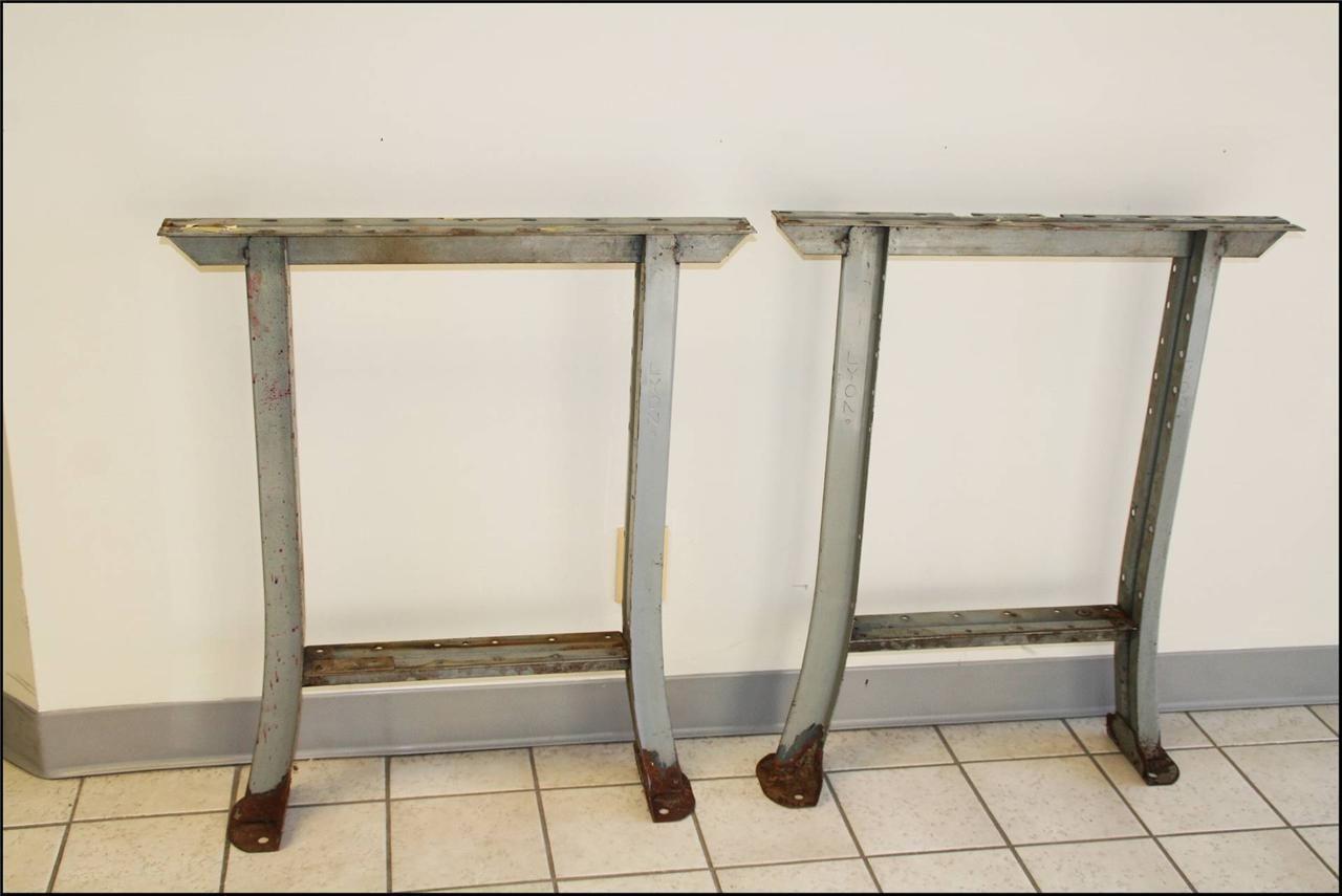 Vintage industrial table legs metal work bench lyon ends gray old vintage industrial table legs metal work bench lyon ends gray old factory base watchthetrailerfo