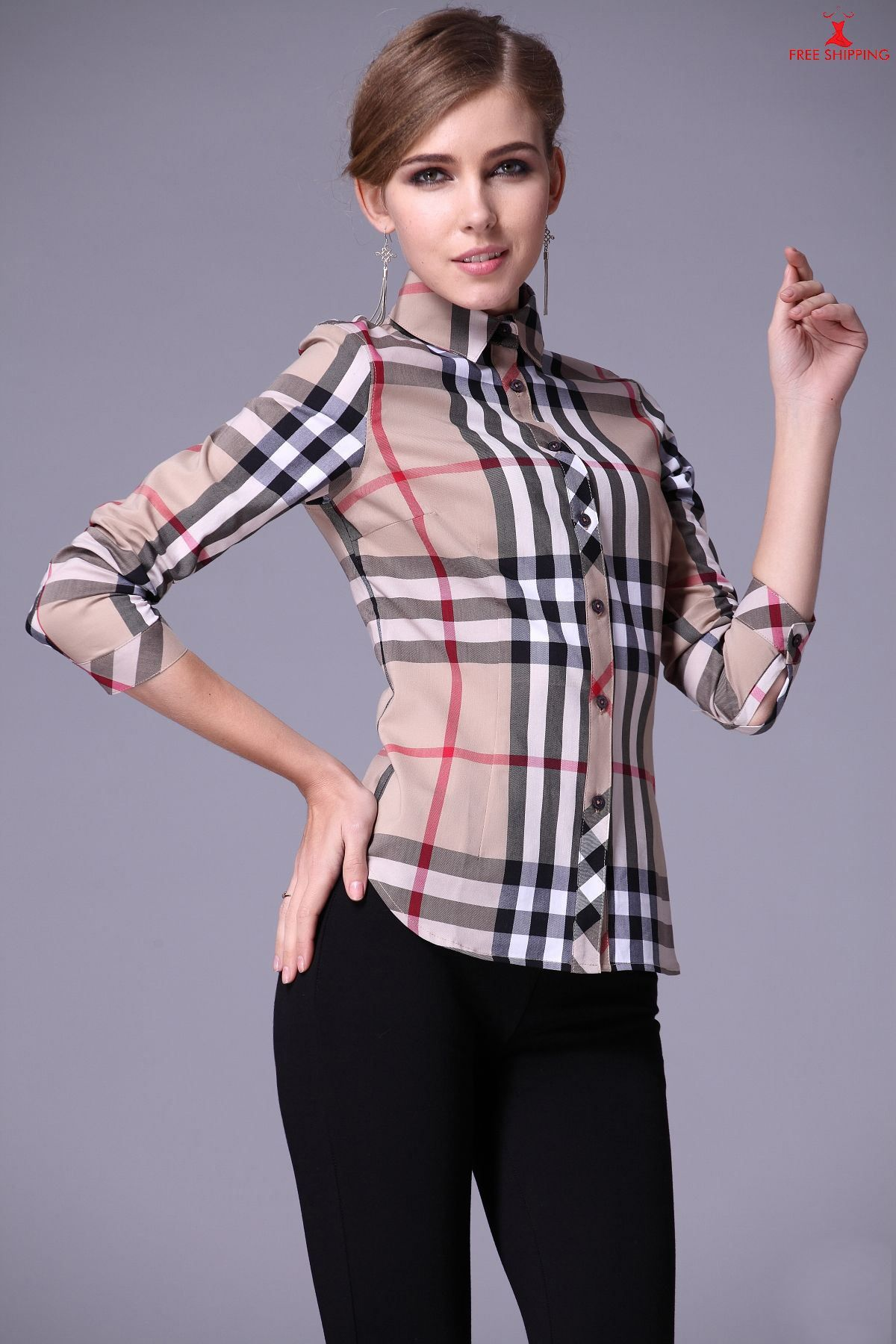 Burberry womens fitted shirts plaid long sleeves beige for Women s stewart plaid shirt