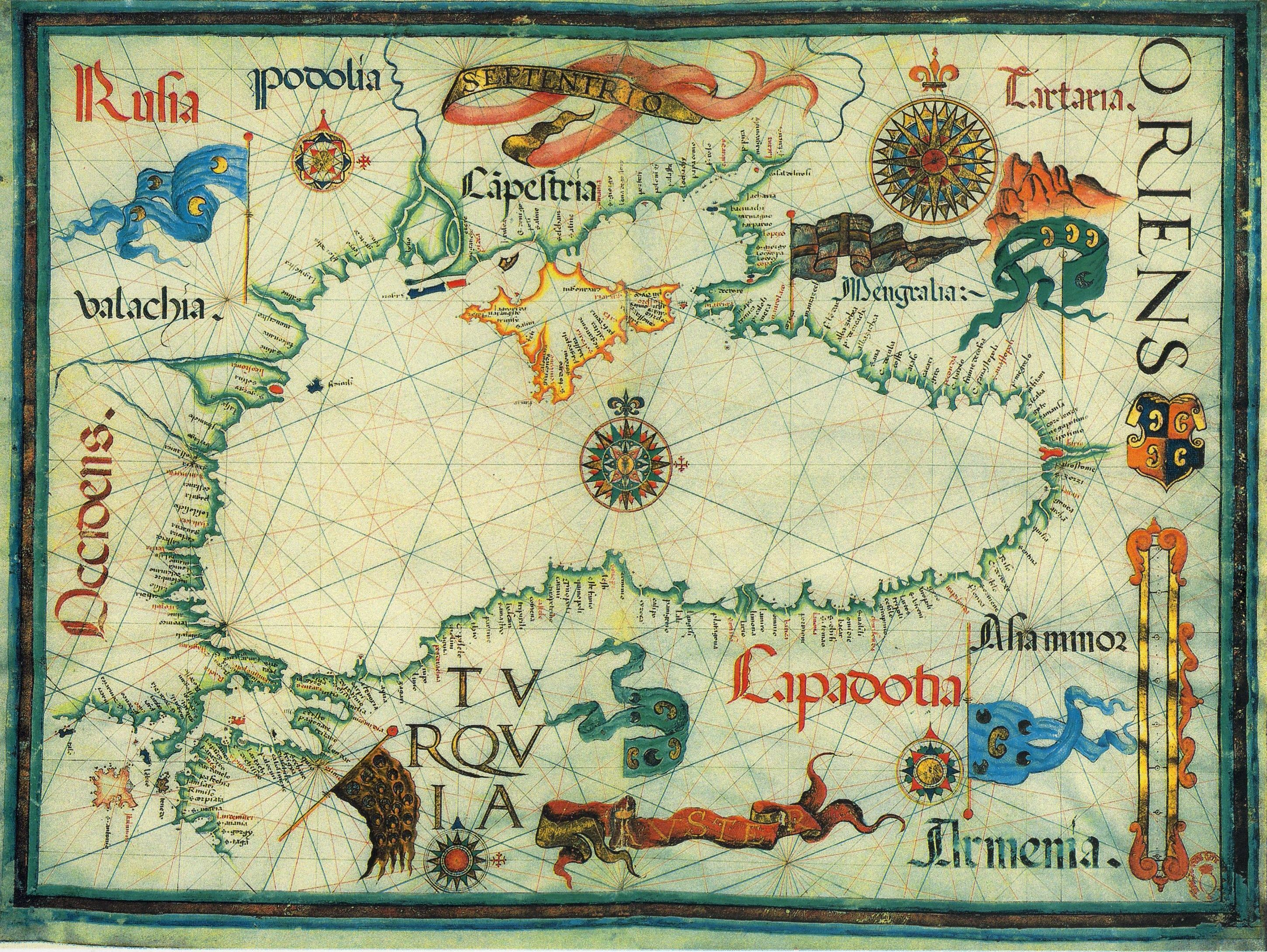 A medieval map of the black sea by diogo homem maps ancient and a medieval map of the black sea by diogo homem gumiabroncs Gallery