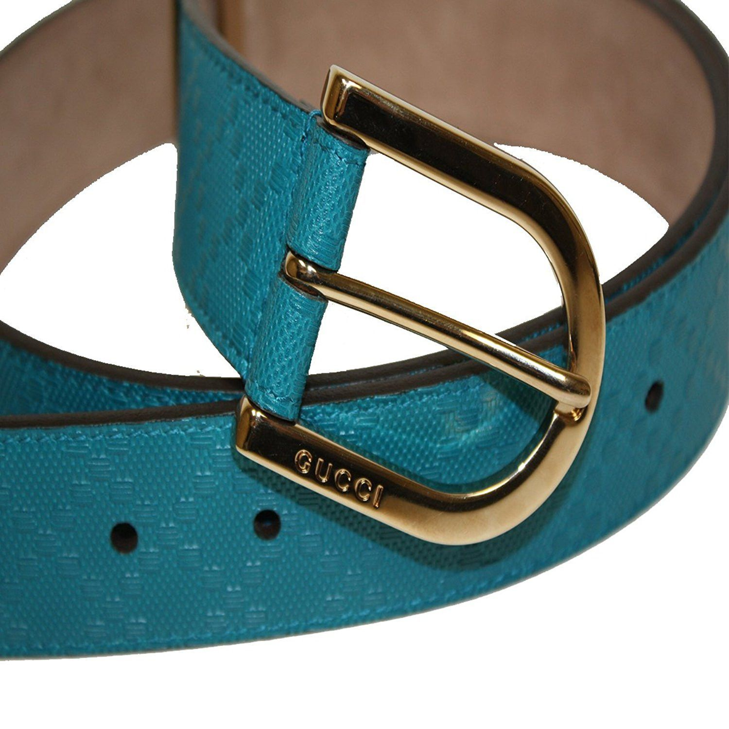 a435a293a9a52 Gucci Women s Diamante Leather Belt 354382 Bright Turquoise Blue