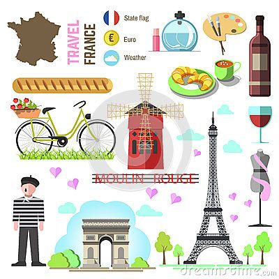 set of paris french symbols and landmarks france vector illustr rh pinterest com French Symbols and Meanings French Flower Symbol