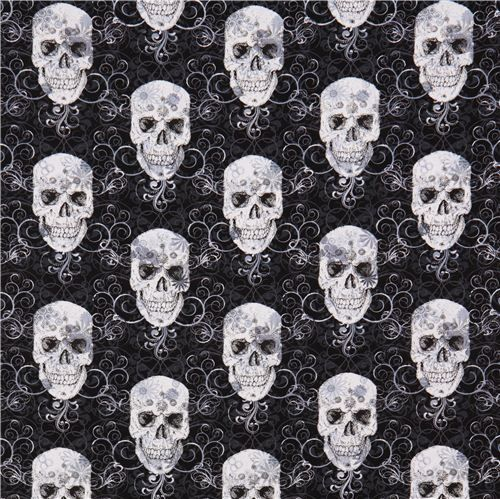 Tela negra calaveras Skull Metallic Timeless Treasures - Telas de calaveras - Textiles - tienda kawaii modesS4u