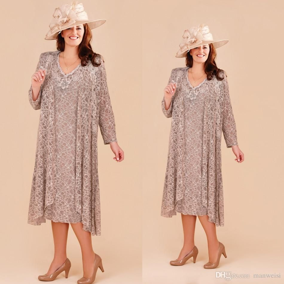 Plus size mother of the bride dresses with long jacket lace