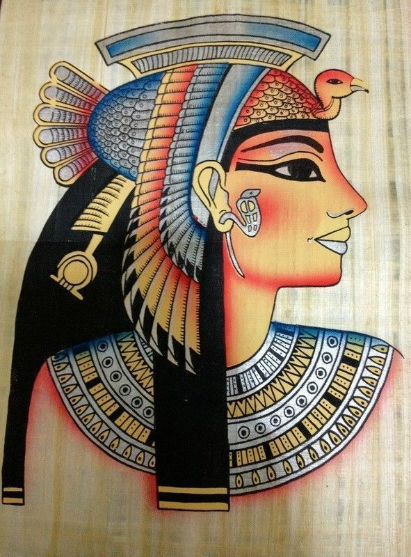 Ancient egyptian famous queen cleopatra handmade papyrus for Ancient egyptian mural paintings