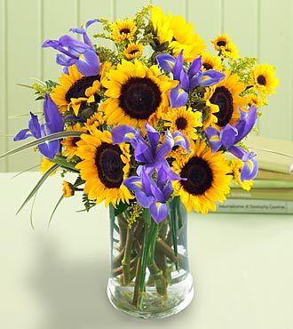 Cut Flowers Sunflowers And Iris Lovely Flowers Pinterest