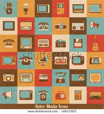 ícones mídia em estilo Retro   Elementos Vintage   design nostálgico   Sentindo os bons velhos tempos  Tendência Hipster   Conjunto de vetores
