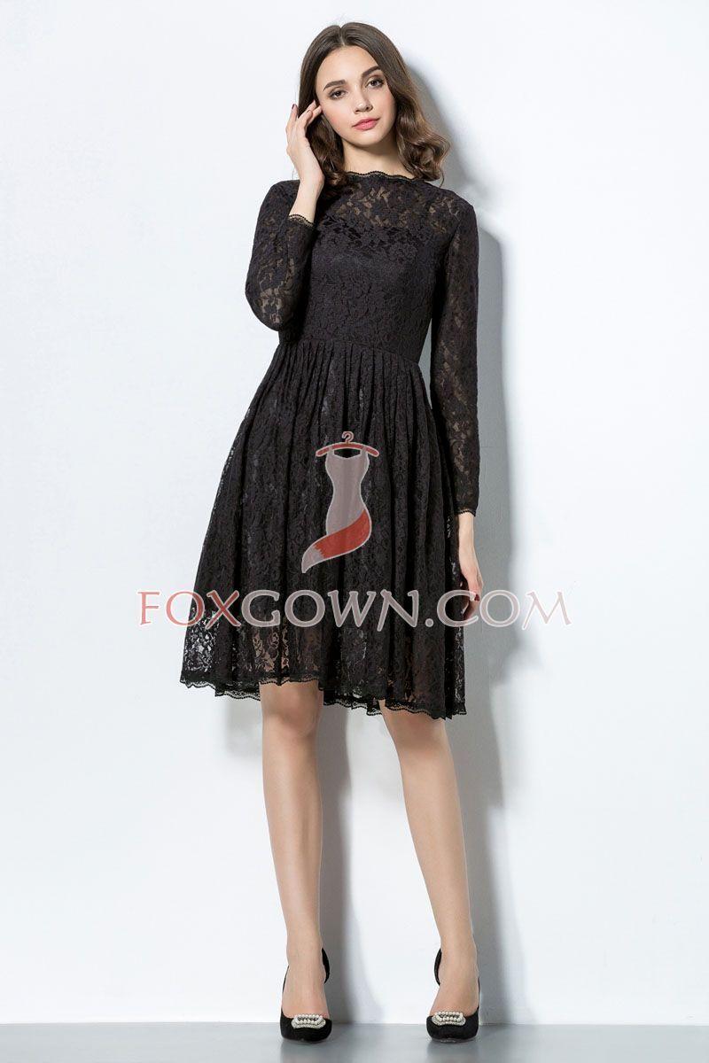 Black dress lace sleeves - Scalloped Crew Neck Long Sleeve Black Lace Knee Length Bridesmaid Dress