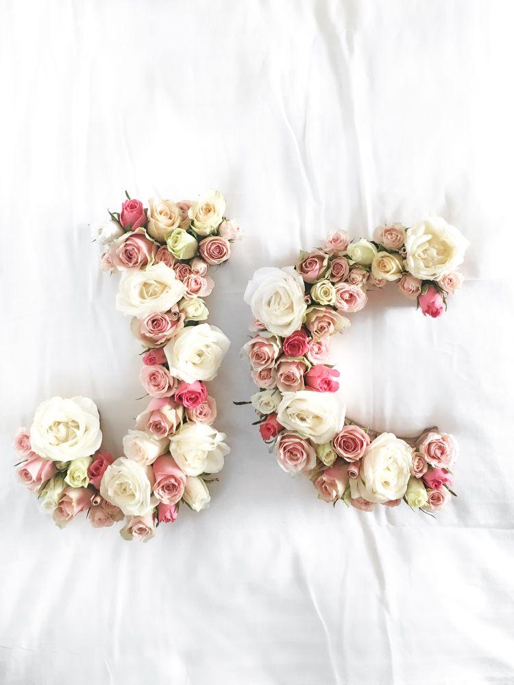 diy blooming monogram diy geschenk hochzeit blumen. Black Bedroom Furniture Sets. Home Design Ideas