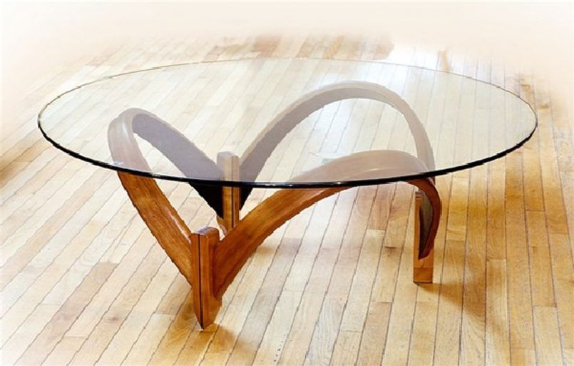 Coffee Table Furniture Round Glass Top Curved Wooden Base Modern