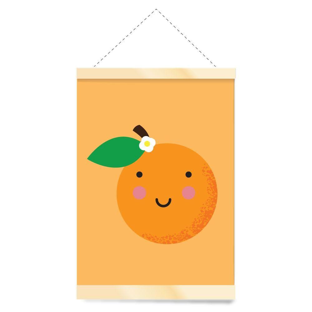 Kawaii Orange Nursery Canvas Banner Wall Hanging   Children\'s Rooms ...