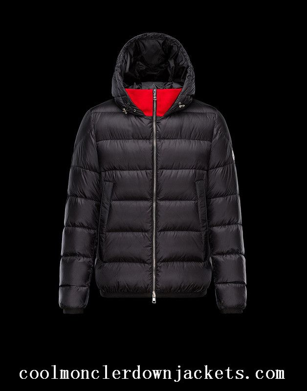 Order Mens Moncler Clamart Down Jackets Black Red
