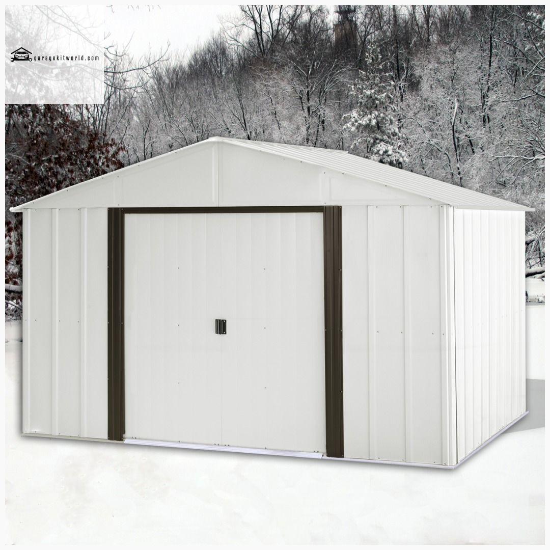 Arlington 10 X 12 Ft Eggshell Coffee Steel Storage Shed Steel Storage Sheds Storage Shed Metal Storage Sheds