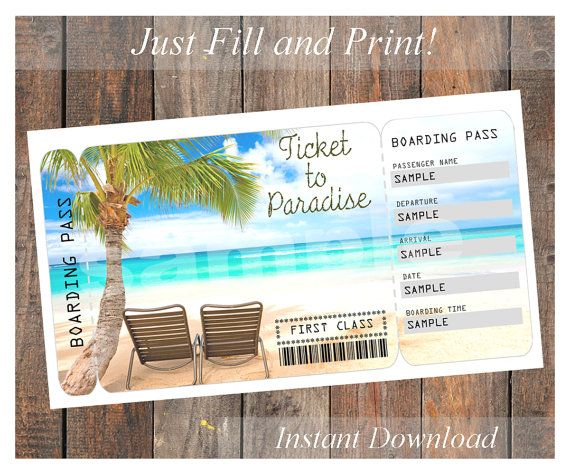 Ticket To Paradise Vacation Boarding Pass Digital File You Fill And Print Surprise Trip Reveal Surprise Vacation Reveal Vacation Gift