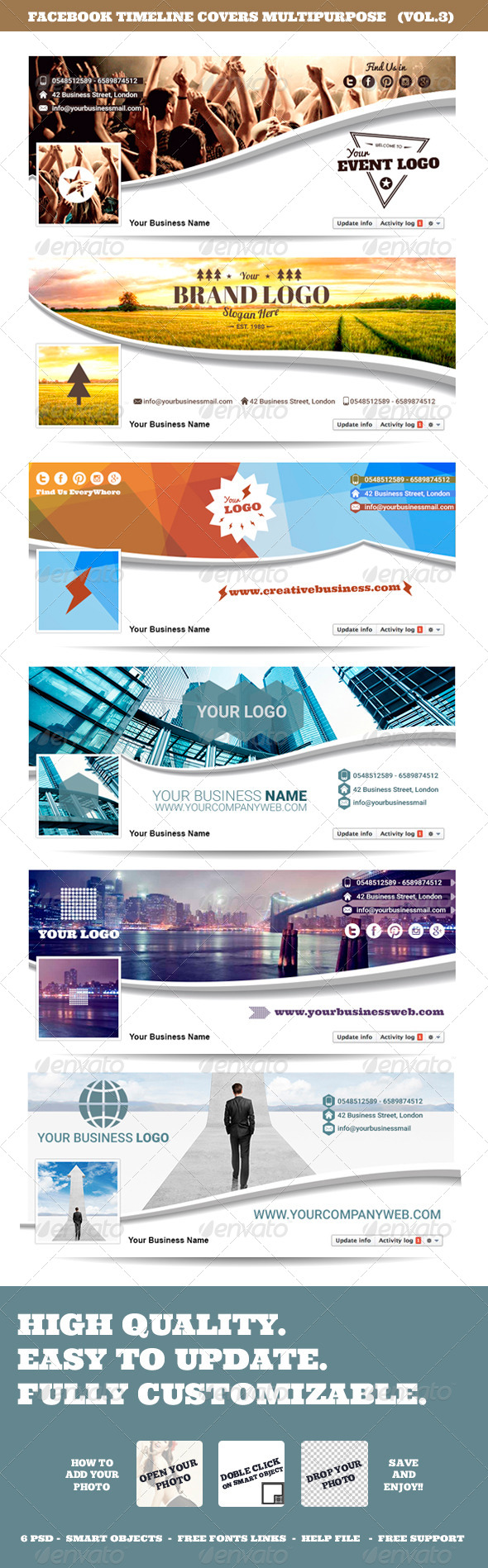 Facebook Timeline Covers Multipurpose Vol.3 — Photoshop PSD #corporate #events • Available here → https://graphicriver.net/item/facebook-timeline-covers-multipurpose-vol3/8611109?ref=pxcr