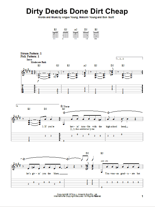 Ac Dc Guitar Tab Acdc Dirty Deeds Done Dirt Cheap Easy Guitar