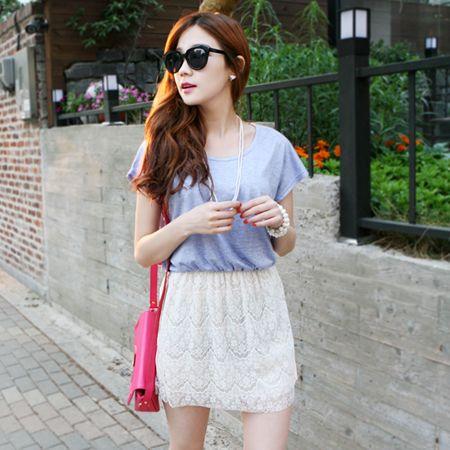 Dresses :: Casual :: heathered top pretty lace skirt 1pc. dress - Korean Fashion @ 스타일지