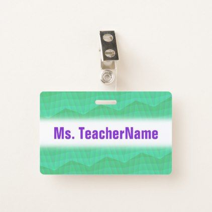 Abstract Aquamarine Wavy and Lines Pattern + Name Badge