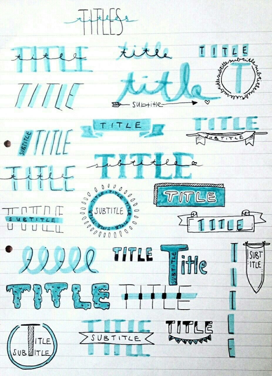 titles and subtitles Bullet journal notes, Journal
