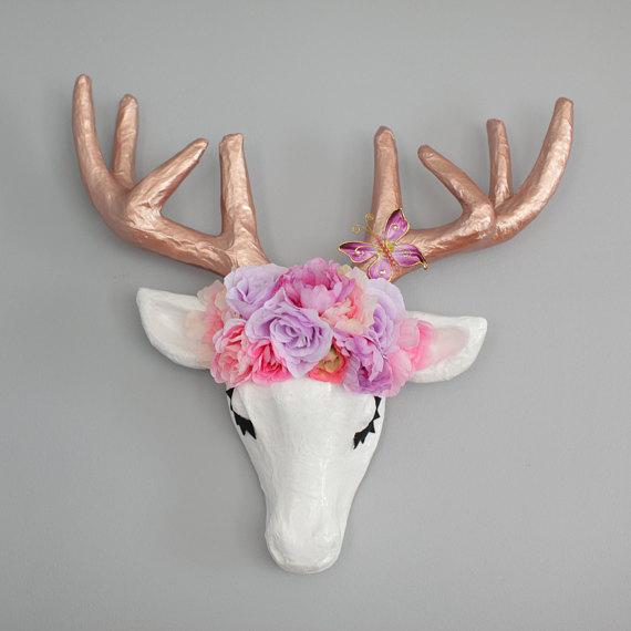 White Rose Gold Metallic Paper Mache Animal Faux Taxidermy Deer