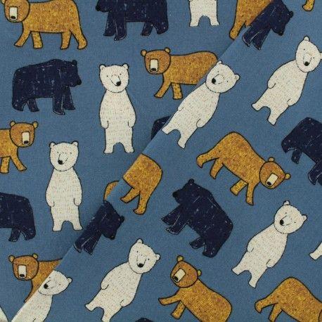 2ff23e97b90 Tissu Oeko-Tex coton Poppy Big bear - denim x 10cm | 0SEWING | Denim ...