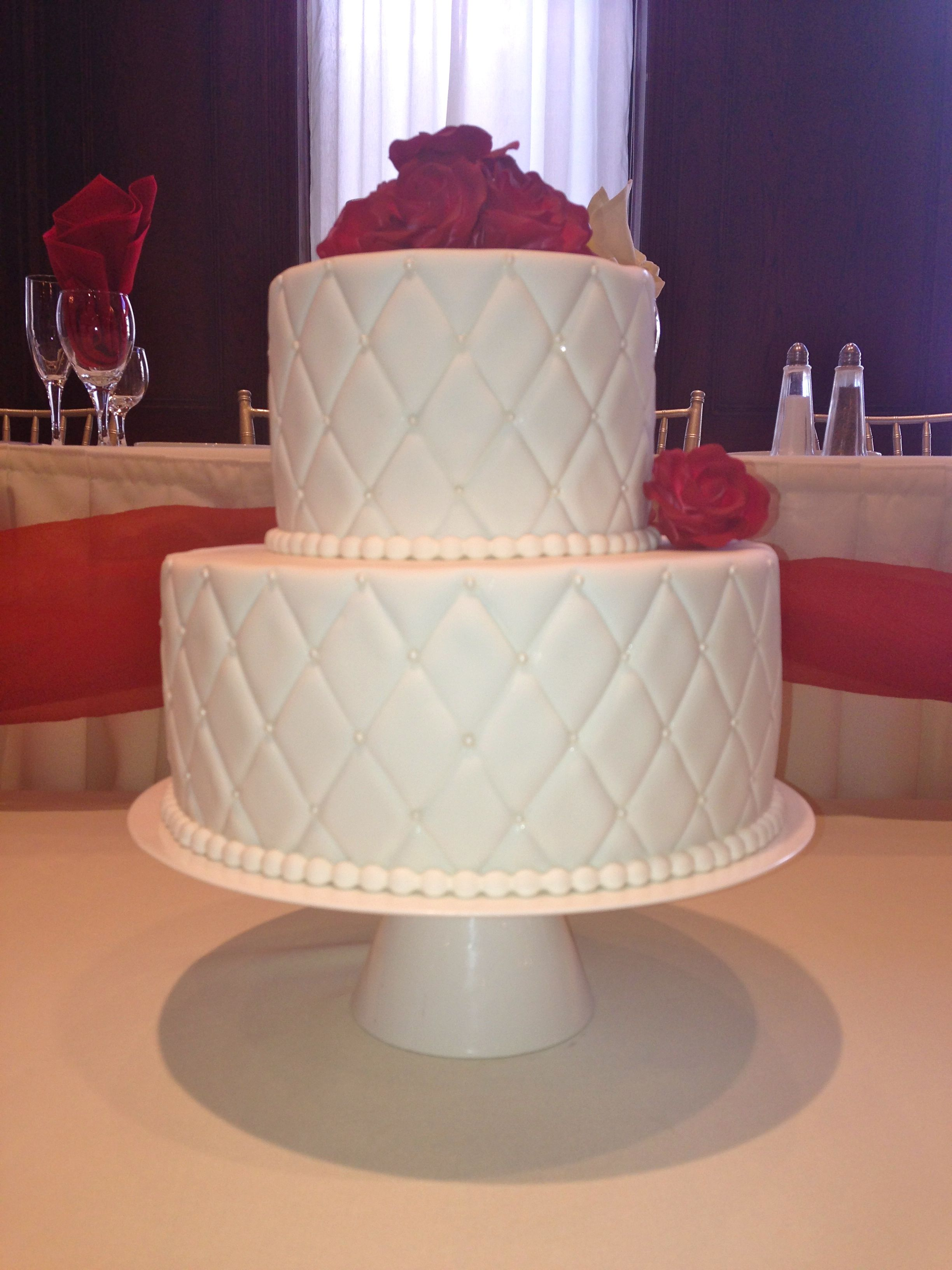 Classic all white 3-tier wedding cake with quilt pattern and a ... : wedding cake quilt pattern - Adamdwight.com
