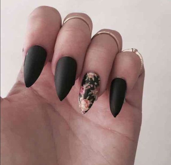 Flower/black stiletto nails by BeautyNdTheBeach on www.etsy.com ...