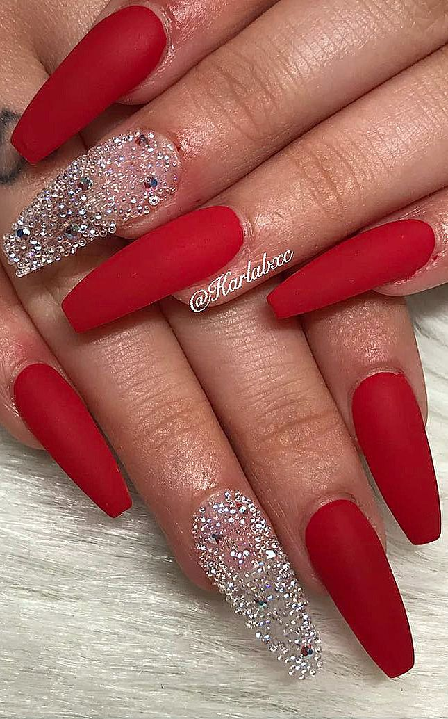24 Matte Red Nails Ideas Successful Acrylic And Coffin Designs Web Page Number 9 Red Nail Designs Red Acrylic Nails Coffin Nails Designs