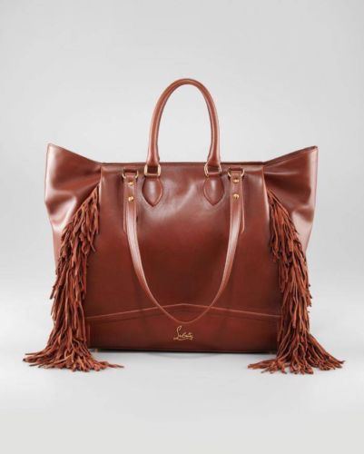 bd0721730ab Details about CHRISTIAN LOUBOUTIN Justine Brown Leather Fringe Tote ...