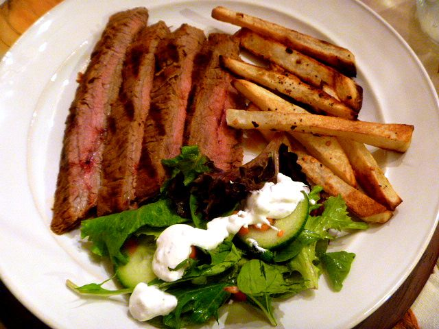 Grilled flank Steak in an Adobo Tomato Sauce