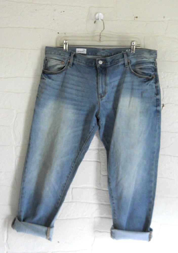 GAP 1969 Boyfriend Jeans Size 33 R / 16 Faded Plus Size Light Wash ...